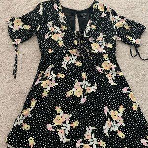 Top shop black floral open back dress size 10